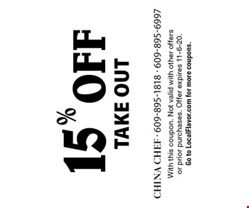 15% off take out. With this coupon. Not valid with other offers or prior purchases. Offer expires 11-6-20. Go to LocalFlavor.com for more coupons.