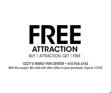 Free attraction buy 1 attraction, get 1 free. With this coupon. Not valid with other offers or prior purchases. Expires 1/3/20.