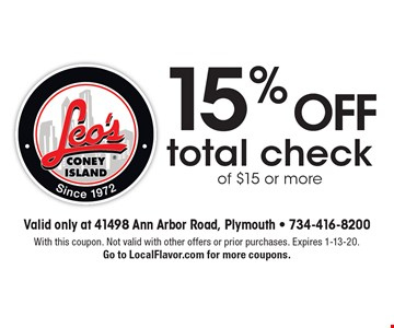 15% off total check of $15 or more. With this coupon. Not valid with other offers or prior purchases. Expires 1-13-20. Go to LocalFlavor.com for more coupons.