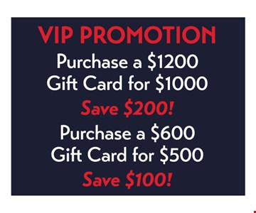 VIP PROMOTION purchase a $1200 gift card for $1000, save $200! Purchase a $600 gift card for $500, save $100! Bonus cards expire 6 months from date of purchase. Expired bonus cards will not be honored. Bonus cards can only be used on a purchase of $30 or more. Only one (1) bonus card can be used daily, per client. Gift cards and/or bonus cards CANNOT be used on the same day as purchased and cannot be combined with any other offer or promotion. The VIP Card is membership to receive discounted salon services only! It may not be combined with any other promotions/offers/discounts. It cannot be used for hair extensions, Keratin services, any series packages such as blow-dry, color, facials and massage or any specialty work (Bridal) work or retail products. Excluded on student, teacher and military days. Cannot be used to pay for sales tax. Any balances are not refundable but may be, at one time only, transferred to another individual.