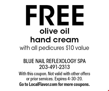 FREE olive oil hand cream with all pedicures $10 value. With this coupon. Not valid with other offers or prior services. Expires 4-30-20.Go to LocalFlavor.com for more coupons.