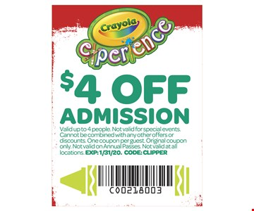$4 off admission. Valid up to 4 people. Not valid for special events. Cannot be combined with any other offers or discounts. One coupon per guest. Original coupon only. Not valid on annual passes. Not valid at all locations. Exp1-31-20. Code: CLIPPER