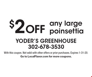 $2 Off any large poinsettia. With this coupon. Not valid with other offers or prior purchases. Expires 1-31-20. Go to LocalFlavor.com for more coupons.