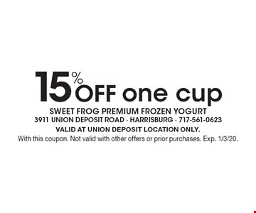 15% Off one cup. VALID AT UNION DEPOSIT LOCATION ONLY.With this coupon. Not valid with other offers or prior purchases. Exp. 1/3/20.