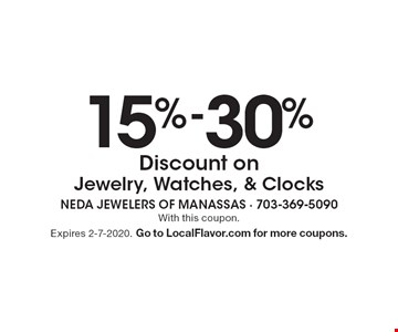 15%-30% Discount on Jewelry, Watches, & Clocks. With this coupon. Expires 2-7-2020. Go to LocalFlavor.com for more coupons.