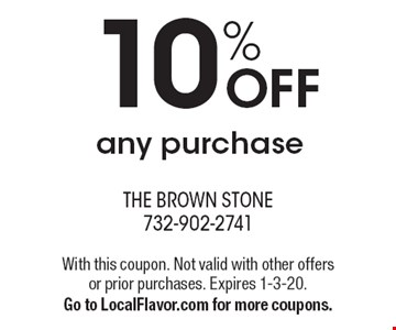 10% OFF any purchase. With this coupon. Not valid with other offers or prior purchases. Expires 1-3-20.Go to LocalFlavor.com for more coupons.