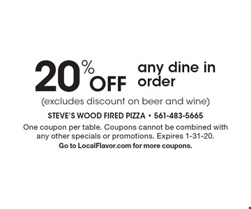 20% Off any dine in order (excludes discount on beer and wine) . One coupon per table. Coupons cannot be combined with any other specials or promotions. Expires 1-31-20.Go to LocalFlavor.com for more coupons.