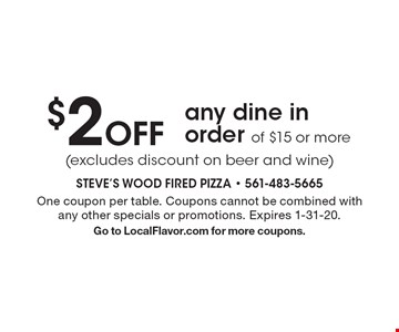 $2 Off any dine in order of $15 or more (excludes discount on beer and wine) . One coupon per table. Coupons cannot be combined with any other specials or promotions. Expires 1-31-20.Go to LocalFlavor.com for more coupons.