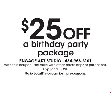 $25 Off a birthday party package. With this coupon. Not valid with other offers or prior purchases. Expires 1-3-20.Go to LocalFlavor.com for more coupons.