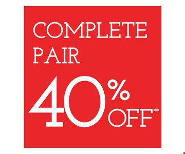 Complete pair 40% off. On purchase of complete pair of prescription eyeglasses. Valid at Newburgh Mall location only. Cannot be combined with insurance or other offers. Other restrictions may apply. See store for details. Limited time offers