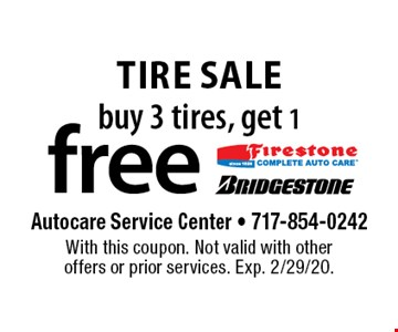 Free tire. Buy 3 tires, get 1 free. With this coupon. Not valid with other offers or prior services. Exp. 2/29/20.
