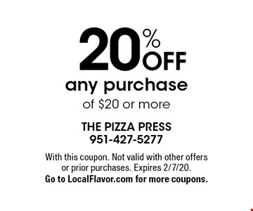 20% OFF any purchase of $20 or more. With this coupon. Not valid with other offers or prior purchases. Expires 2/7/20.Go to LocalFlavor.com for more coupons.