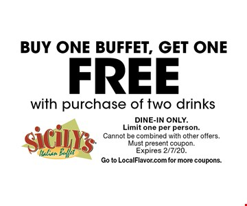 Buy one buffet, get one free, with purchase of two drinks. Dine-in only. Limit one per person. Cannot be combined with other offers. Must present coupon. Expires 2/7/20. Go to LocalFlavor.com for more coupons.