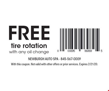 Free tire rotation with any oil change. With this coupon. Not valid with other offers or prior services. Expires 2/21/20.