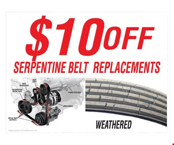 $10 off serpentine belt replacements