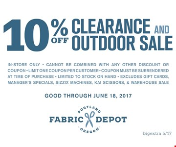 10% Off Clearance and Outdoor Sale