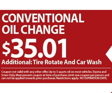 Conventional Oil Change $35.01