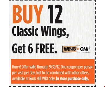 Buy 12 classic wings, get 6 free