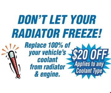 $20 off any coolant.