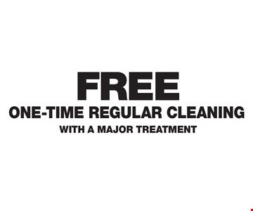 FREE ONE-TIME REGULAR CLEANING WITH A MAJOR TREATMENT.