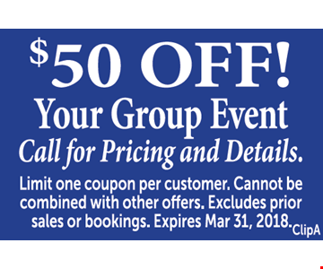 $50 off your group event