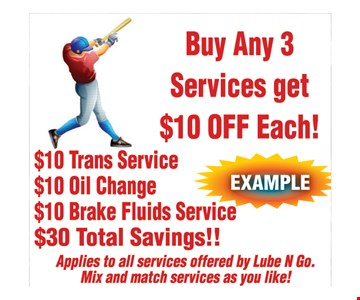 Buy Any 3 Services get $10 off each