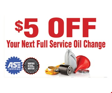 $5 Off your next full service oil change