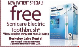 New Patient Special! Free Sonicare Electric Toothbrush* *After a complete new patient exam & cleaning. With this coupon. Not valid with other offers. Appointment must be made by August 6, 2018.