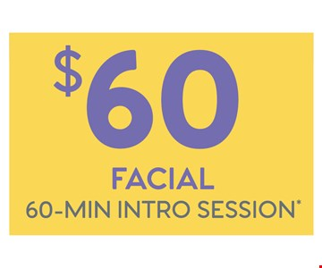 $60 Facial 60-Min intro session. Promotional off good for fisrt-time guest only. Session times include up to 10 minutes of consultation and dressing, which occur both pre and post service. Individual results may vary. Facials and facial waxing are not intended to diagnose, treat. cure or prevent diseases, illnesses, imbalances, or disorders. You should consult your doctor if you are experiencing these concerns or if you are experiencing continual or severe pain in any area of your body. Rates and services vary by franchise location. Additional taxes and fees may apply. Not all Massage Envyfranchise locations offer all services, including facial or waxing services. For a specific list of services available, check with the specific franchised location or see MassageEnvy.com. Each location is independently owned and operated. ©2018 Massage Envy Franchising. LLC.