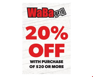 20% off with purchase of $20 or more. One coupon per visit. Must present this original coupon. Cannot be combined with other offers. Tax not included. Valid only at 4517 Chino Hills, 6390 Van Buren Blvd., 4069 Chicago Ave., 1760 W. 6th St., 5286 Arlington Ave., 6187 Magnolia Ave. locations. Expires on1/20/20.