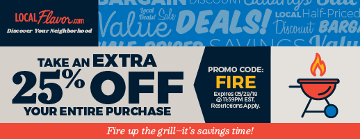 Take an extra 25% OFF your entire purchase with promo code: FIRE.  Expires: 5/28/18 11:59PM EST.  Restrictions Apply