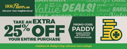 Take an extra 25% OFF with promo code: PADDY  Expires: 3/17/18 11:59PM EST.  Restrictions Apply
