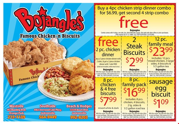 Bojangles' is one of our most visited website and you can rest assured that with our Bojangles' coupons, you can save as much as 50% on your orders. The latest Bojangles' offer includes a free choice of up to five varieties of biscuits on orders of $80 or more. Also, there's an option to choose between ten categories.