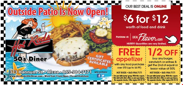 LocalFlavor com - Hot Rods 50's Diner - $6 For $12 Worth Of