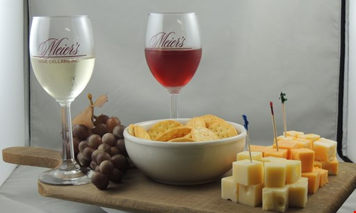 Product image for Meier's Wine Cellars $19 For A Wine Tasting For 2 (5 Tastings For Each Person, Cheese Tray For 2, 2 Full Glasses Of Wine & 2 Souvenir Glasses) (Reg. $38)
