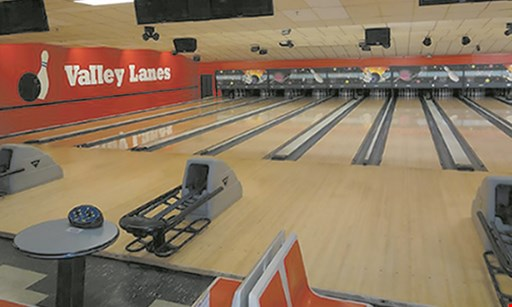 Product image for Valley Bowling Lanes $32.47 For 2 Hours Of Unlimited Bowling For Up To 5 People With Rental Shoes, 1 Large Pizza & 5 20 oz. Fountain Drinks (Reg. $64.95)