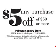With this coupon. Not valid with other offers or prior purchases. Offer expires 5-24-13.