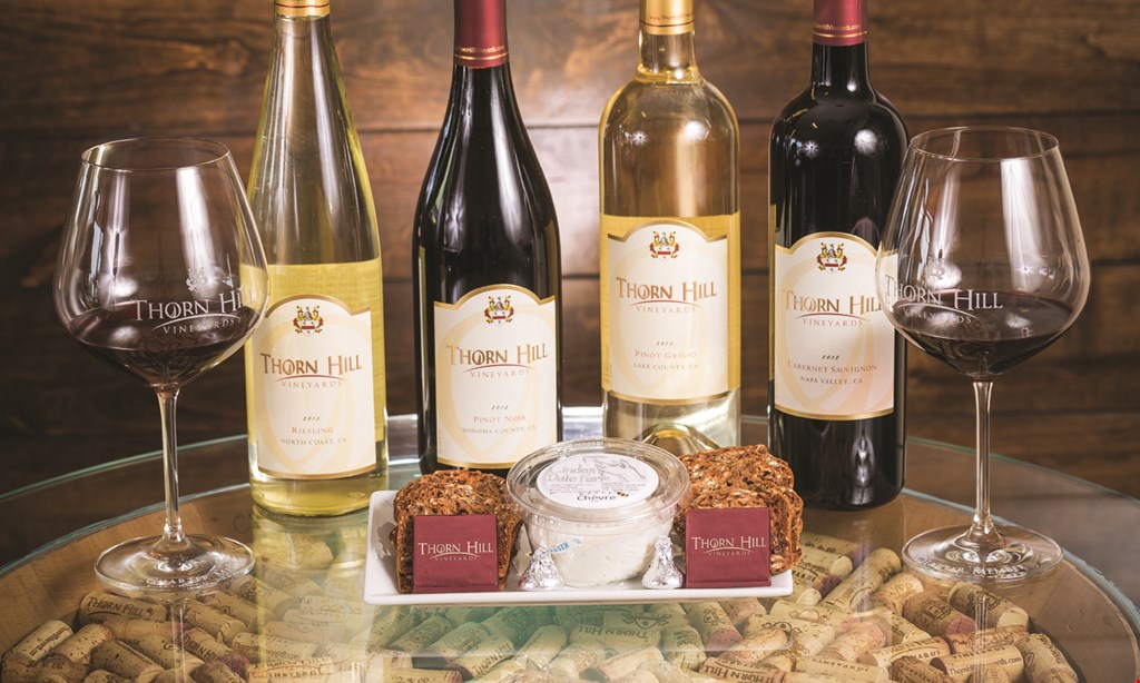"Product image for Thorn Hill Vineyards $25 For A ""Best of California"" Wine Tasting Package For 2 People (Reg. $50)"