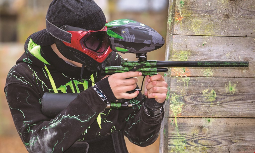 Product image for Splat Action Paintball $55 For Paintball Package For 2 Includes Semi-Auto Marker, Co2 Tank & Refill, Hopper, Full Face Goggles, Torso Armor, Camo Jacket, Pod Pack & 500 Paintballs (Reg. $110)
