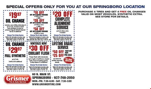 Grismer tire discount coupons