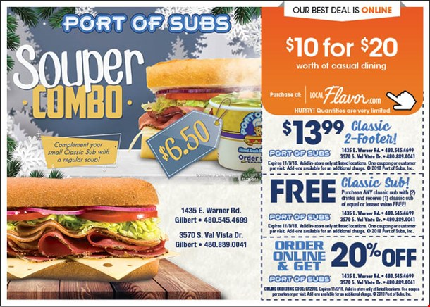 Port of subs coupons