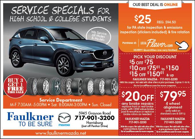 Click To View Coupons. 5945 Grayson Rd. Harrisburg, PA 17111. Faulkner Mazda:  ...