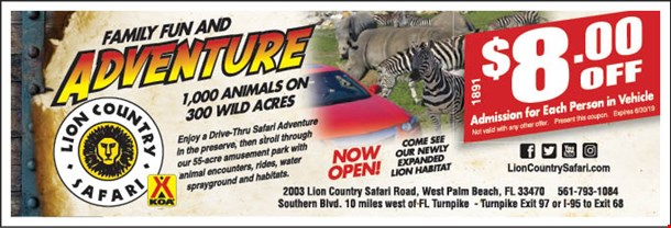 Magazine Image Click To View Coupons Thumbnail 2003 Lion Country Safari Rd West Palm Beach