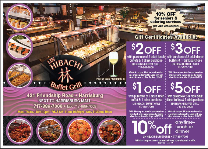 picture relating to Friendship Coupons Printable referred to as - Lin Hibachi Buffet Grill Discount coupons