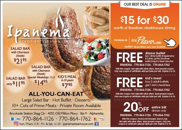 localflavor com ipanema brazilian steakhouse 15 for 30 worth