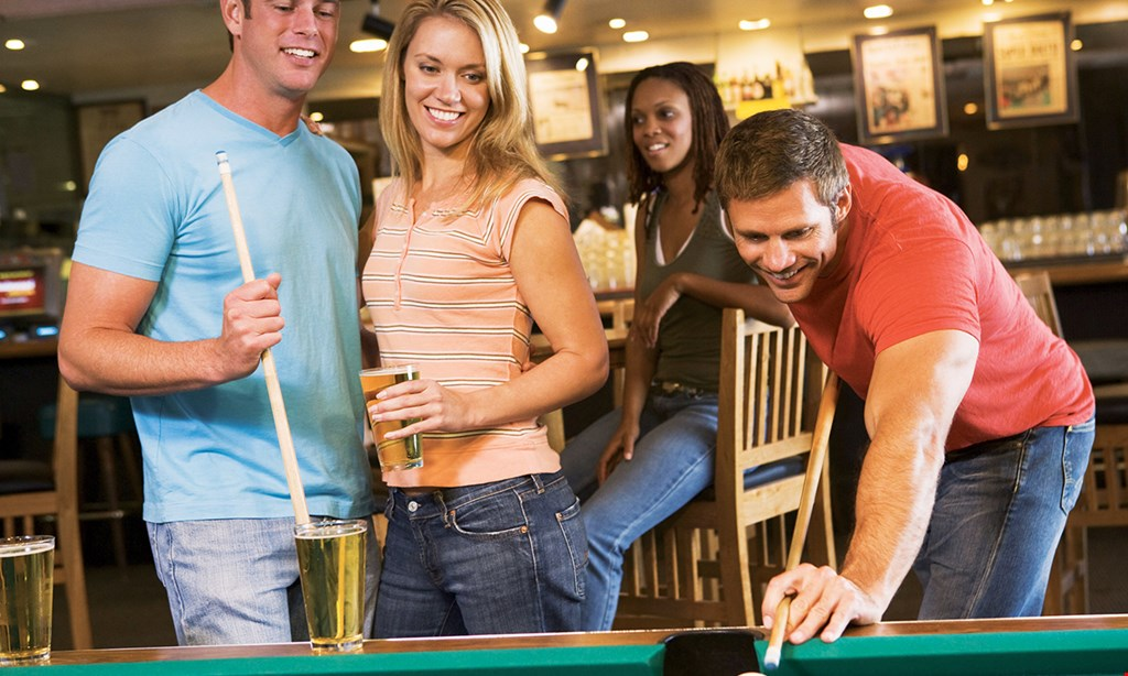 Product image for Trick Shot Billiard Hall $22.50 For 2 Hours Of Pool, 1 Large Cheese Pizza & 1 Pitcher Of Soda For 2 (Reg. $45)