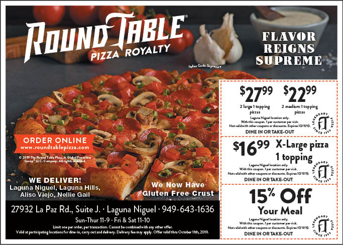 picture regarding Round Table Pizza Printable Coupons named - Spherical Desk Pizza - Laguna Niguel Coupon codes