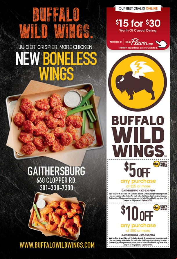 It is an image of Superb Buffalo Wild Wings Coupons 2020 Printable