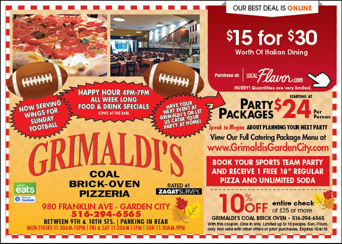 graphic regarding Incredible Pizza Printable Coupons titled - Grimaldis Coal Brick-Oven Pizzeria - $15