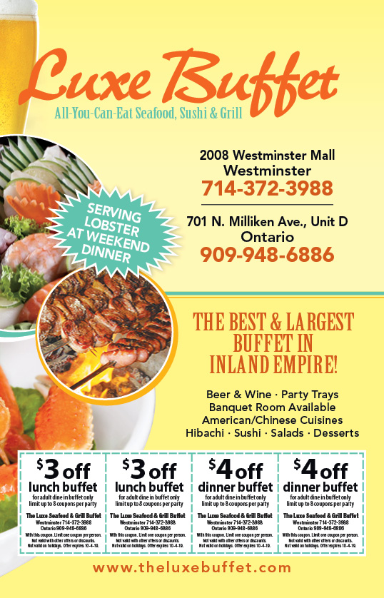 image relating to The Luxe Buffet Printable Coupon called - The Luxe Buffet Discount coupons
